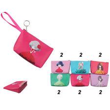12pcs Girl Printed Coin Purse Key Chain Case Change Bag Purse Wholesale Lots
