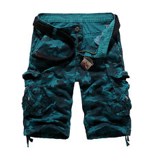 Men's Cargo Camo Military Combat Capri Pants Shorts Casual Work Summer Trousers
