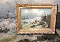Stürmischer Hafen mit Schiffen. Orig. antikes Ölgemälde um 1900. Signiert Arnold
