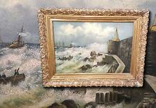 stürmischer Port avec schiffen. orig. antique peinture à l'HUILE um 1900. signé