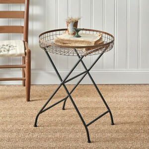 Copper Finish Open Basket Side Table