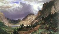 Nice Oil painting Albert Bierstadt - Storm in the Rocky Mountains nice landscape