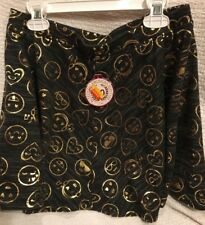 Nwt Girl's So Terry Skirt Black w/ Gold Foil Emojis Elastic Waist Size 14 or 16