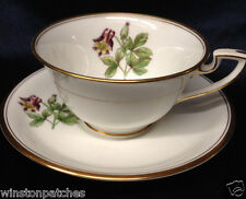 ROYAL WORCESTER WILLIAMSON FLOWER FOOTED CUP & SAUCER 8 OZ COLUMBINE GOLD TRIM