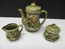 Vintage Tilso Japan Handpainted Green Harvest Vegitables Set Tea Pot Sugar Cream