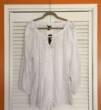 14/16 1X/XL New Cotton Peasant Top White Eyelet Lace Blouse Tunic
