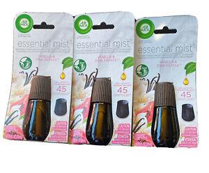 3-Air Wick VANILLA & PINK PAPAYA Essential Mist Diffuser Oil Refill Brand New