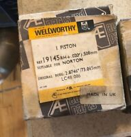 """Norton 750 19145 Piston Kit Hepolite .020"""" over NOS with pins UK Made Quality"""