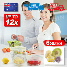 6/12X Stretch Reusable Silicone Bowl Wraps Food Saver Cover Seal Lids NSTA LIDS