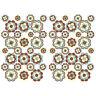 56 Stk. Blumen Aufkleber Braun Beige Matt Sticker Selbstklebend Retro 70er R063