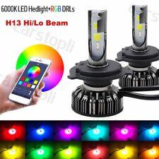 2x H13 9008 72W Car LED RGB Headlight bluetooth Control Drive Hi/Lo Beam Bulbs