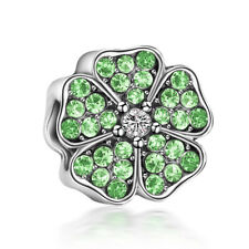 Green CZ Flowers Spacer Glamour beads Fit European 925 Silver Charms Bracelet