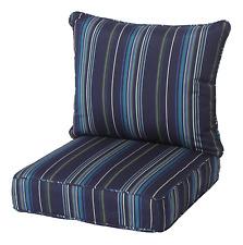 Sunbrella Sunbrella Stanton Lagoon Stripe Seat Chair Cushion Outdoor Patio Deep