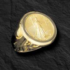 22K FINE GOLD 1/4 OZ AMERICAN EAGLE COIN in 14k gold  Ring