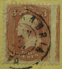 SCOTT #65 US STAMP ON COVER W/Civil War Period Virginia Cancel & STRADDLE MARGIN