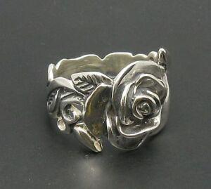 Sterling Silber Ring Solide Punziert 925 Blume Rose R000217 EMPRESS