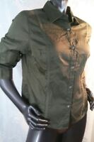 Valerie Stevens Shirt Size Large Nwt Navy Green Button Down 3/4 Sleeves