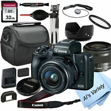 Canon EOS M50 Mirrorless Camera with 15-45mm STM Lens,   32GB Card,(18PC Bundle