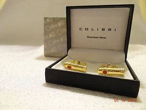 Colibri Stainless Steel Gold Red Cufflinks- New