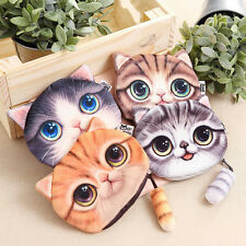 Señoras lindo gato cara animal moneda monedero cartera mini cremallera bolsa