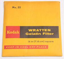"Kodak No. 32 Wratten Gelatin Filter - 76mm x 76mm 3x3"" Square Old SEALED F3"