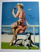 1940s Elvgren Pin Up Girl Picture Plane View Woman Watch Planes w/ Great Dane