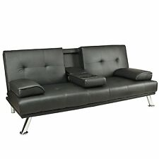 Modren Black Faux Leather Sofa Bed Double Click Clack Settee 2 - 3 Seater couch
