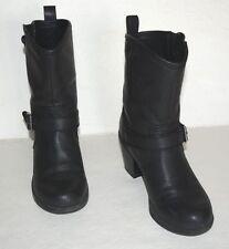 SKECHERS LONE STAR BLACK ANKLE BIKER STYLE BOOTS WOMEN SZ 6.5 M *GUC*