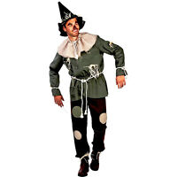 Mens Deluxe Wizard Of Oz Scarecrow Group Family Halloween Costume + Wig S M L XL