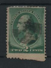 1887 US Scott 213, 2 cents green, bottom single partially IMPERF