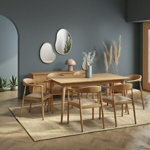 Solid Oak Extendable Dining Table with 6 Curved Oak Dining Chairs