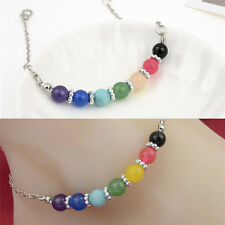 Jewelry Seven Chakra Seven Colors Crystal Agate Jade Bead Metal Anklet  HA