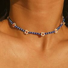 Fashion Daisy Flower Seed Beads Necklace Lady Chain Choker Collar Clavicle Boho