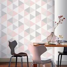 Rose/Gris Scandi Geo Triangles Papier Peint - Arthouse 908204 Neuf