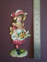 Y06 découpis gauffré dos vierge 10 cm jeune fille chapeau et fleurs