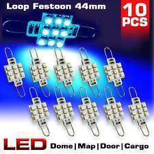"10x Ultra Blue 561 562 567 Festoon 1.73"" Rigid Loop 44mm 9-SMD LED Light Bulbs"
