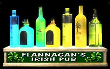 "24"" LED lighted PERSONALIZED IRISH PUB shot glass & liquor bottle display"