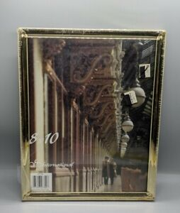 """Vtg Photo Picture Frame Ornate Embossed BRASS Gold tone Metal 8x10"""" Easel NIP!!"""