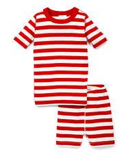 Hanna Andersson Red White Short Johns Pj's Pajamas Organic Cotton sz 6/7 8 10
