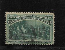 Us Scott #238 used 15c green Columbian Expo issue 1893 light cancel fine sound