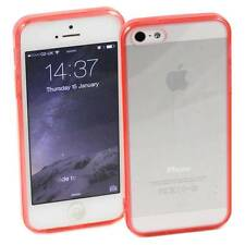5 x RED iPHONE 5 / 5S APPLE HARD BACK CASES CLEAR TPU SILICONE BUMPER COVER M30