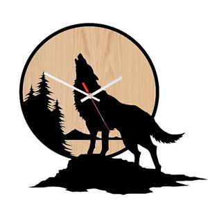 Wall Clock Australian Made Wolf Art Glossy Black on Walnut Wood Beta Design