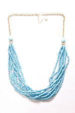 w Gold Chain Back (T249) Elegant Multi-Layered Cerulean Blue Beaded Necklace