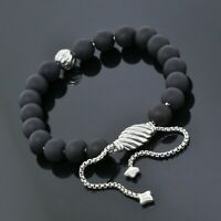 David Yurman Sterling8mm Matte Black Onyx Silver Accent Spiritual Beads Bracelet