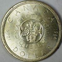 1964 Canada Quebec Comm Brilliant Uncirculated Silver Dollar $1 Centennial Coin
