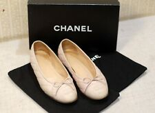 800$ CHANEL classic pink quilted CC logo cap toe shoes ballet flats 38 us7.5 uk5