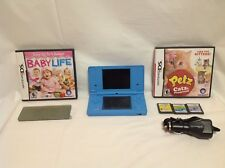 Nintendo DSi Launch Edition Light Blue Bundle w/ Car Charger & Games - 6D