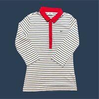 Womens Lacoste Polo Shirt Medium Striped 3/4 Sleeves