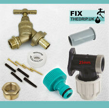 25 mm MDPE outside Tap Kit With Plastic Wall Plate & Garden Pantalon Fitting [Can]