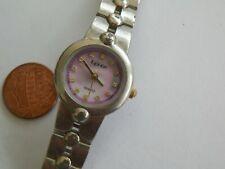 Women'S Silvertone Lynx Mop Jeweled Dial Quartz Watch & Bracelet